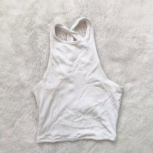 Hollister White Ribbed Cropped Tank Top XS